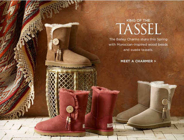 King of the Tassel - The Bailey Charms stuns this Spring with Moroccan-inspired wood beads and suede tassels. Meet a charmer >