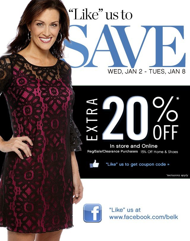 """Like"" us to save extra 20% off."
