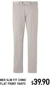 MEN SLIM FIT CHINO FLAT FRONT PANTS