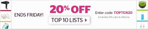 20% off Top 10 Lists