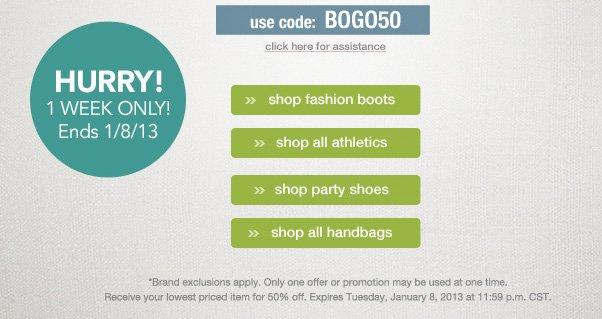 BOGO - Buy 1, Get 1 50% Off!