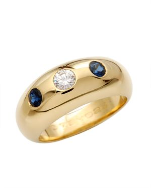 Cartier LU 18K Gold 0.25ct Diamond & Sapphire Ring