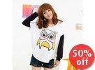 Owl Print Short-Sleeved Top