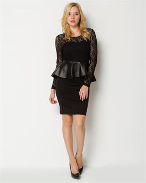 Love In Faux Leather Peplum Dress