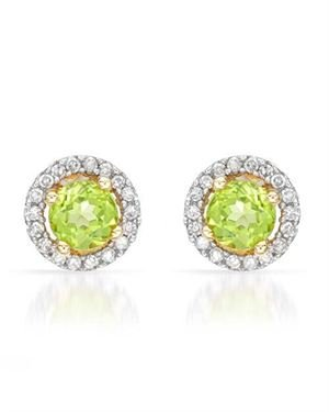 Ladies Peridot Earrings Designed In 14K Yellow Gold