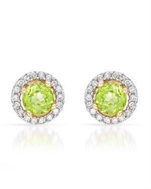 Ladies Peridot Earrings Designed In 14K Yellow Gold