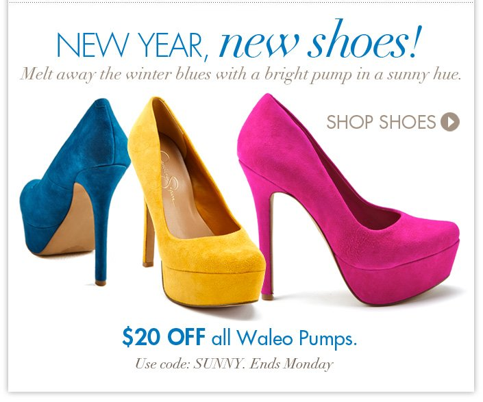 Enjoy $20 off the fun and bright styles of the Waleo Pump. Use code: SUNNY. Ends Monday.