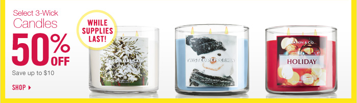 Select 3-Wick Candles - 50% off