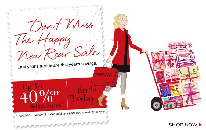Don't miss the Happy New Rear Sale! Last year's trends are this year's savings. Up to 40% Off Select Styles Ends Today! Shop.