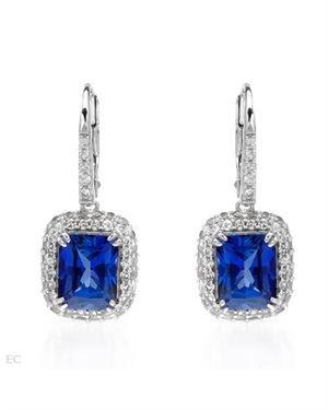 Ladies Sapphire Earrings Designed In 10K White Gold $159