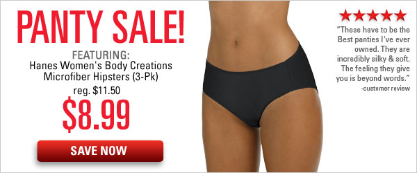 Panty Sale featuring Hanes Microfiber Hipsters $8.99 per 3-pk.