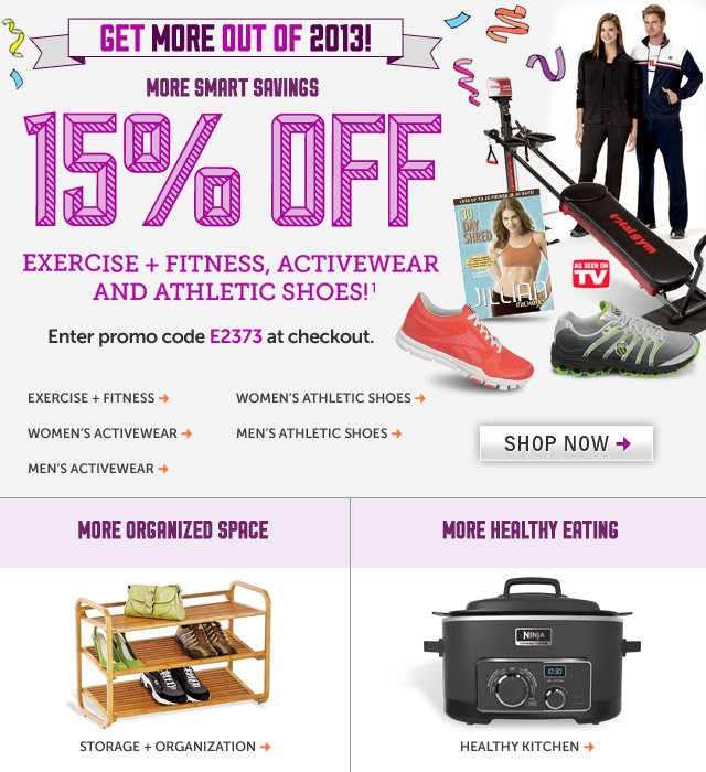 15% off excercise, fitness, activewear, and athletic shoes