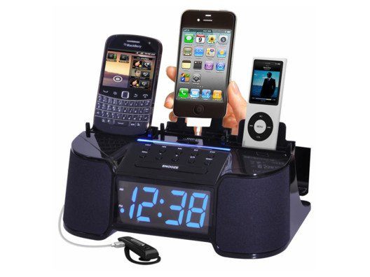 Organize your life with this charging station. Power up your phones, iPad, and more all in one place. Plus, it doubles as an alarm clock and radio!