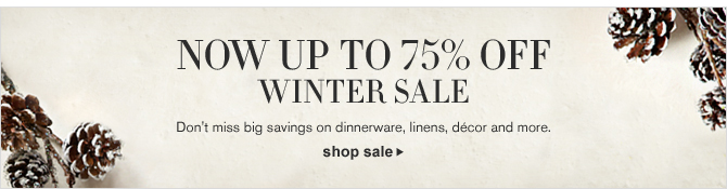 NOW UP TO 75% OFF - WINTER SALE - Don't miss big savings on dinnerware, linens, décor and more. - SHOP SALE