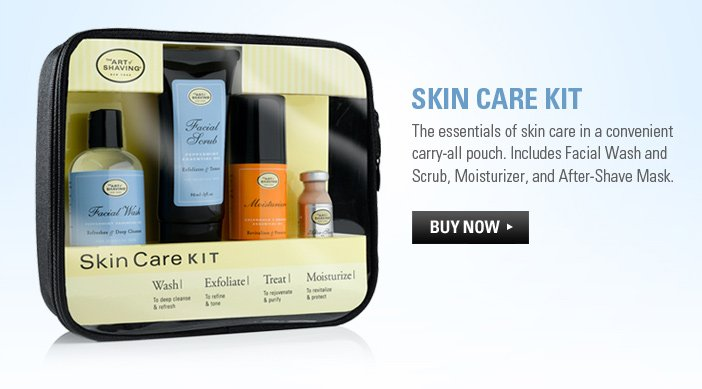 Skin Care Kit - The essentials of skin care in a convenient carry-all pouch. Includes Facial Wash and Scrub, Moisturizer, and After-Shave Mask.
