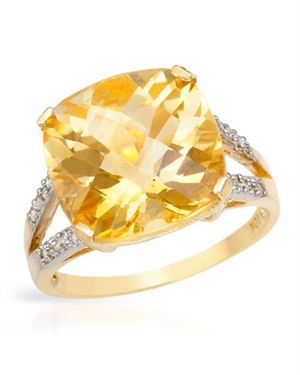 Ladies Citrine Ring Designed In 10K Yellow Gold