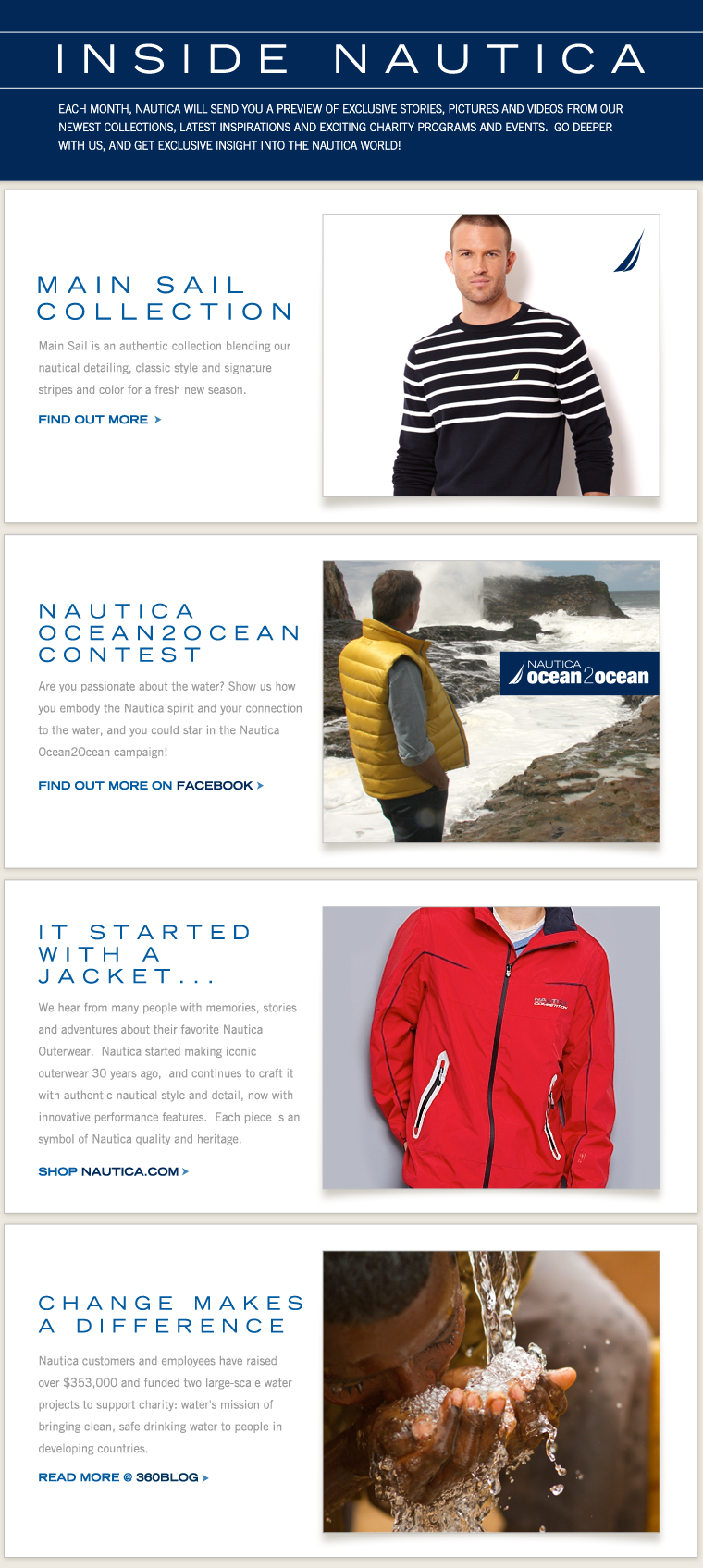 INSIDE NAUTICA: Each month, NAUTICA will send you a preview of exclusive stories, pictures and videos from our newest collections, latest inspirations and exciting charity programs and events!