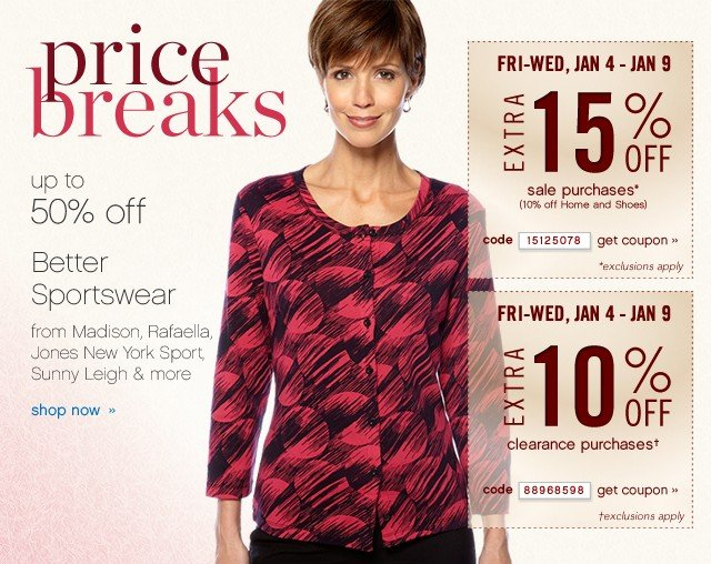 Pricebreaks 30-50% off Better Sportswear. Extra 15% and 10% off. Get coupons.