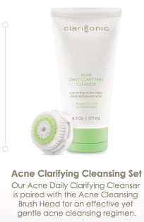 Acne Clarifying Cleansing Set Our Acne Daily Clarifying Cleanser is paired with the Acne Cleansing Brush Head for an effective yet gentle acne cleansing regimen.