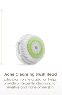 Acne Cleansing Brush Head Extra-plush bristle gradation helps provide ultra-gentle cleansing for sensitive and acne-prone skin.