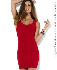 Ripple Sweetheart Neckline Dress