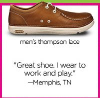 "men's thompson lace - ""Great shoe. I wear to work and play."" - Memphis, TN"