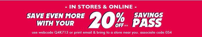 20% Off Savings Pass!