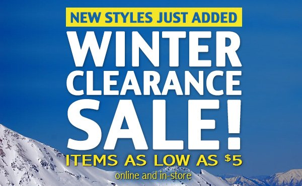 Winter clearance sale. New styles just added!