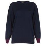 Paul Smith Knitwear - Navy Contrast Cuff Merino Wool Jumper