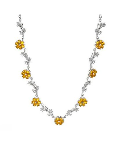 Ladies Simulated Gems Necklace Designed In 925 Sterling Silver $69