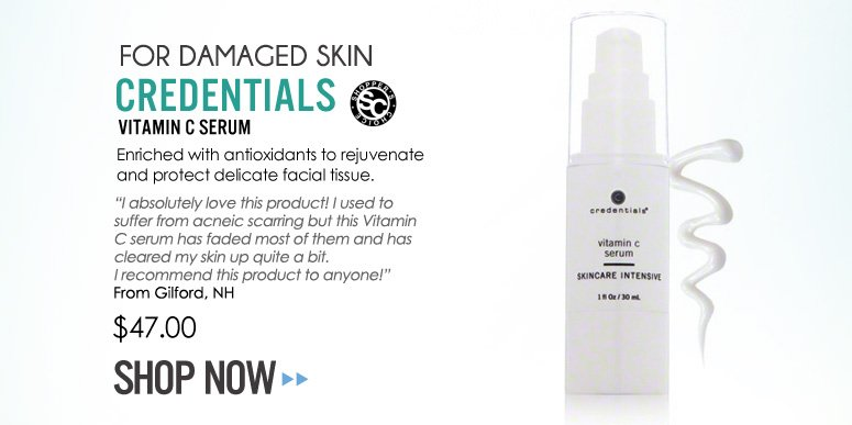 "Shopper's Choice For Damaged Skin: Credentials Vitamin C Serum Enriched with antioxidants to rejuvenate and protect delicate facial tissue. ""I absolutely love this product! I used to suffer from acneic scarring but this Vitamin C serum has faded most of them and has cleared my skin up quite a bit. I recommend this product to anyone!"" –From Gilford, NH $47 Shop Now>>"