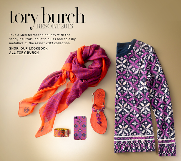 tory burch RESORT 2013 - Take a Mediterranean holiday with the sandy neutrals, aquatic blues and splashy metallics of the resort 2013 collection.