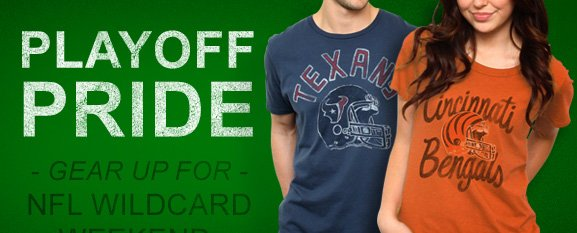 Playoff pride. Gear up for NFL wildcard weekend.