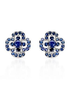 Ladies Sapphire Earrings Designed In 925 Sterling Silver