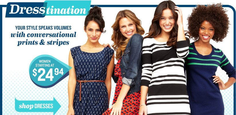 Dresstination | YOUR STYLE SPEAKS VOLUMES with conversational prints & stripes | WOMEN STARTING AT $24.94 | shop DRESSES