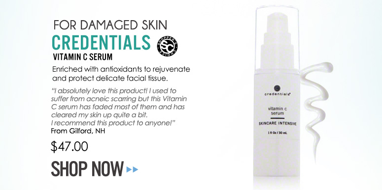 """Shopper's Choice For Damaged Skin: Credentials Vitamin C Serum Enriched with antioxidants to rejuvenate and protect delicate facial tissue. """"I absolutely love this product! I used to suffer from acneic scarring but this Vitamin C serum has faded most of them and has cleared my skin up quite a bit. I recommend this product to anyone!"""" –From Gilford, NH $47 Shop Now>>"""