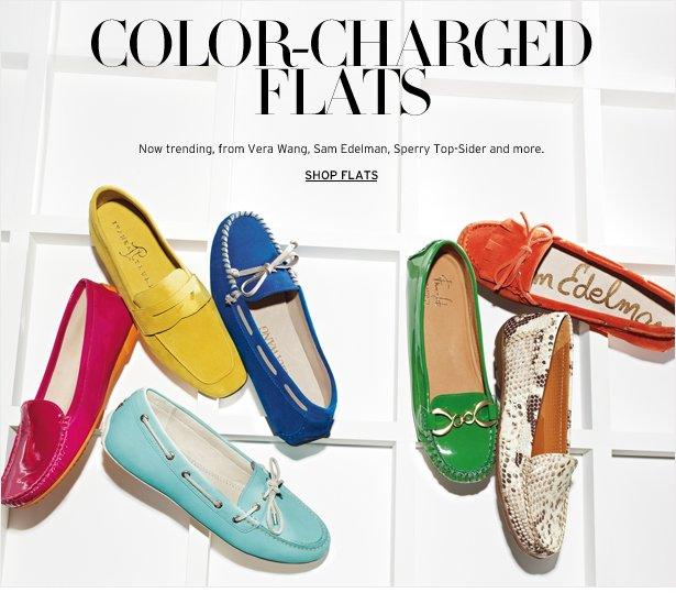 COLOR-CHARGED FLATS - Now trending, from Vera Wang, Sam Edelman, Sperry Top-Sider and more.