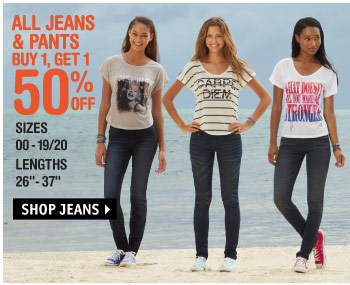 JEANS & PANTS BUY 1, GET 1  50% OFF