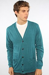The Basic Cardigan in Teal Heather