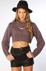 The Truncate Cropped Sweater in Black Plum