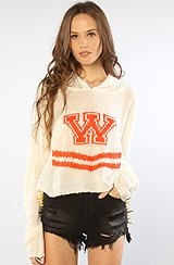 The Cheerleader Cropped Billy Sweater in Clean White