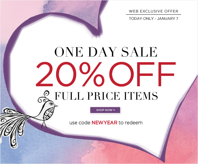 One Day Sale  20% Off Full-Priced Items  Use code NEWYEAR to redeem   Only at PapyrusOnline.com