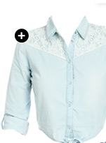 Lace Detail Denim Shirt