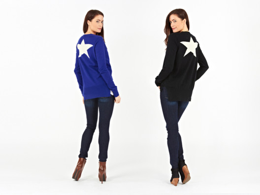I love this quirky star cardigan. It's got a boyfriend-y feel with the deep V and wide cuffs, and the ivory star on the back is an unexpected touch.