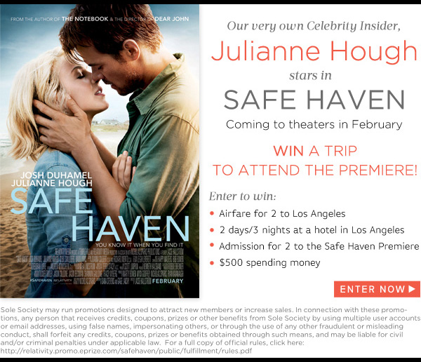 WIN a trip to attend the premiere of Safe Haven starring Julianne Hough!