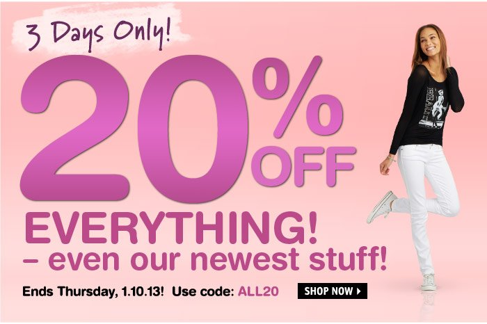 3 Days Only! 20% OFF  EVERYTHING! -even our newest stuff! Ends 1.10.13!
