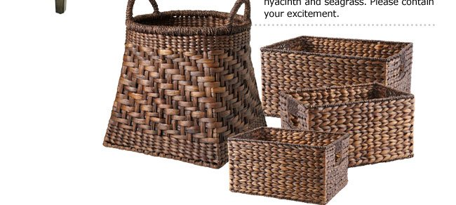 20% off Torrance Baskets reg $14.95-$49.95 Our new collection of shelf organizers, magazine holders and floor baskets are woven by hand from natural water hyacinth and seagrass. Please contain your excitement.