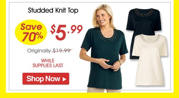 Studded Knit Top - Save 70% - Now Only $5.99 Limited Time Offer