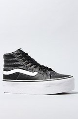 The Sk8 Hi Platform Sneaker in Black Leather and True White
