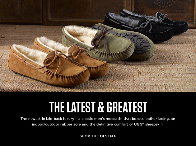 THE LATEST & GREATEST: The newest in laid back luxury - a classic men's moccasin that boasts leather lacing, an indoor/outdoor rubber sole and the definitive comfort of UGG® sheepskin. Shop the Olsen >